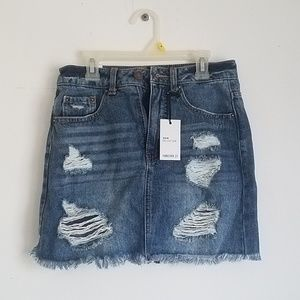 NWT Forever 21 ripped denim pencil skirt